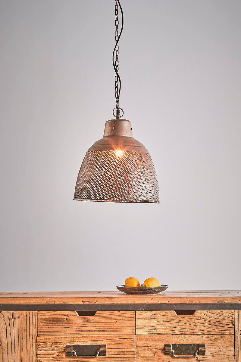 Riva Small - Antique Copper - Perforated Iron Dome Pendant Light
