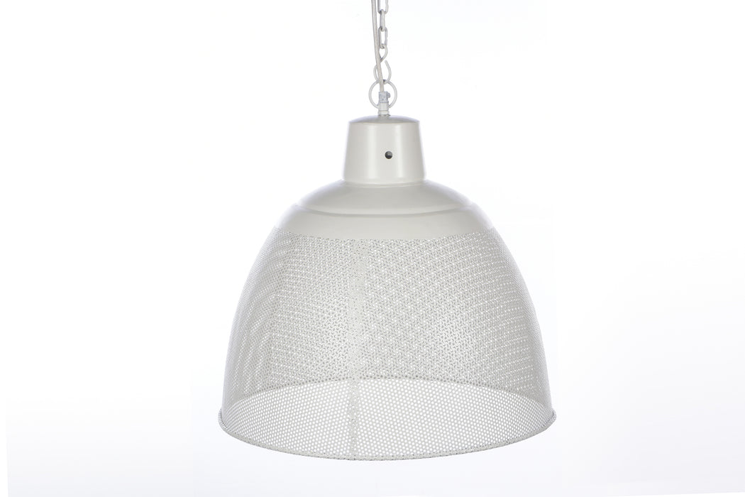 Riva Small - Matt White - Perforated Iron Dome Pendant Light