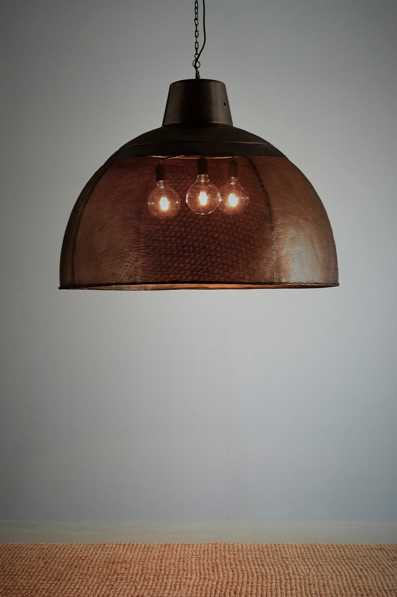 Riva Extra Large - Matt Black/Gold - Perforated Iron Dome Pendant Light