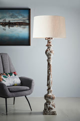 Rook Large - Distressed White - Turned Wood Pillar Floor Lamp