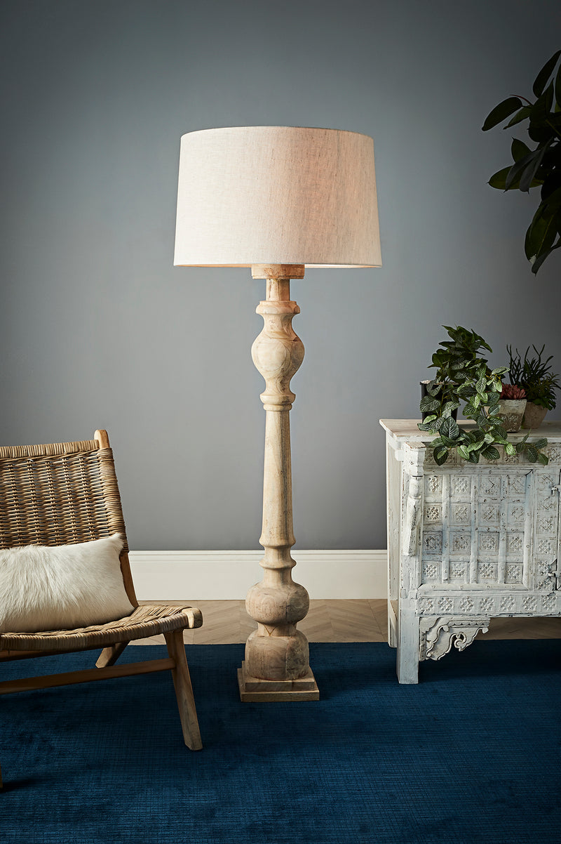 Rook Large - Natural - Turned Wood Pillar Floor Lamp