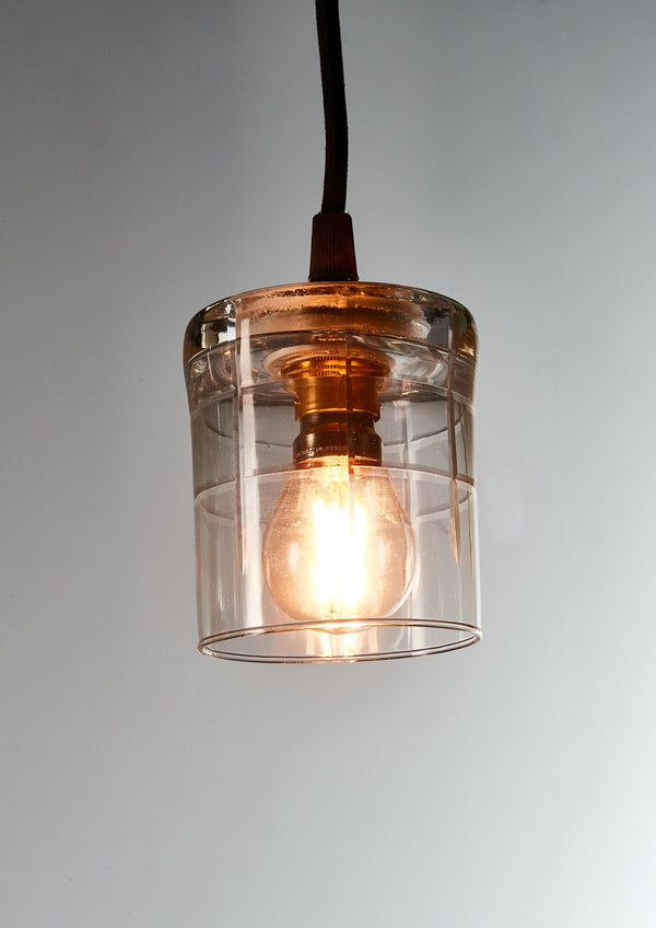 Scotch - Square Clear - Hand Cut Scotch Glass Pendant Light