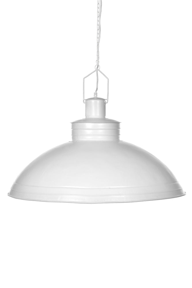 Sheldon - White - Large Iron Shallow Dome Pendant Light