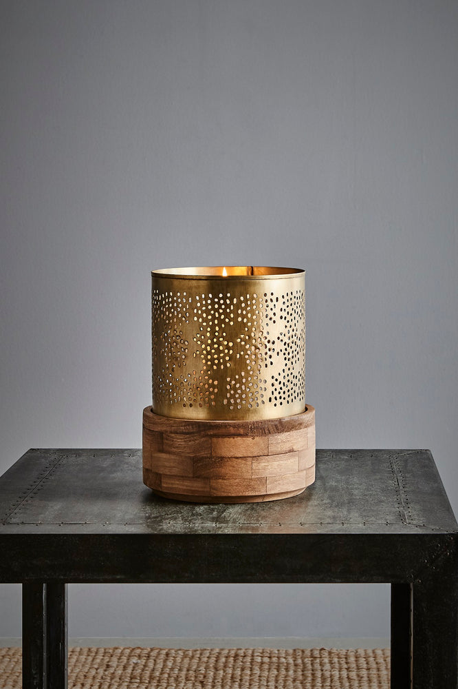 Siena Small - Antique Brass - Perforated Iron and Wood Hurricane Lamp