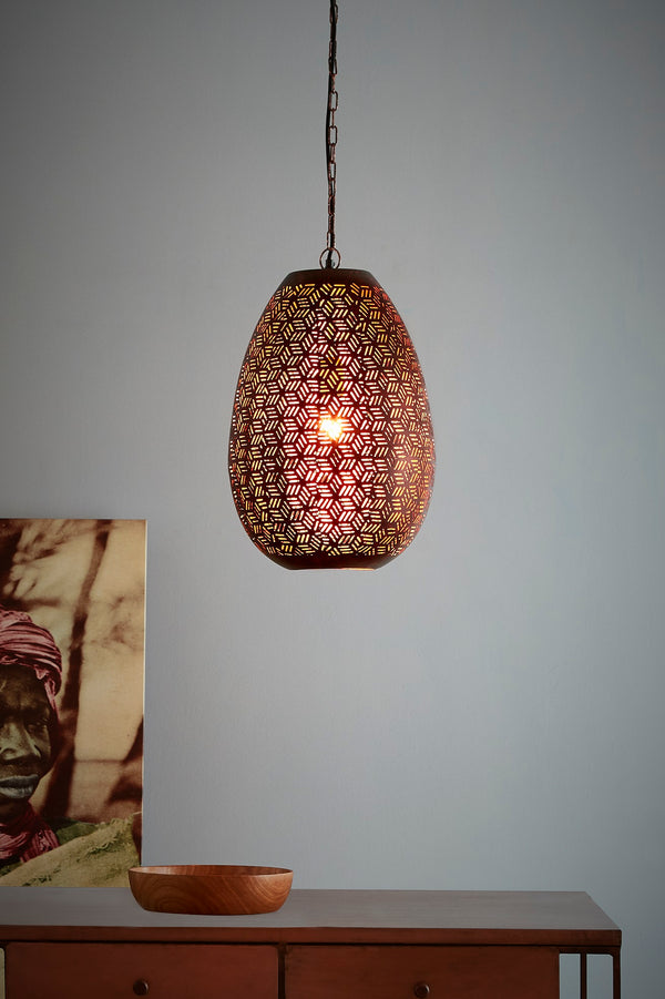 Sigma Medium - Bronze - Perforated Pod Pendant Light