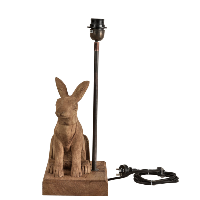 Simon - Dark Natural - Small Wooden Rabbit Table Lamp