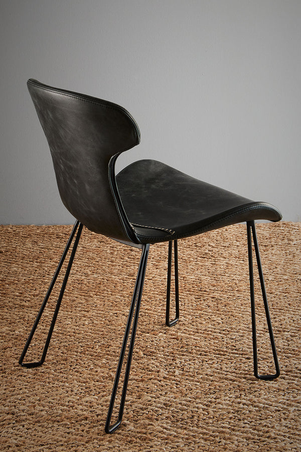 Yonkers Chair - Slate Black/Black - Waxed Leather Upholstered Chair