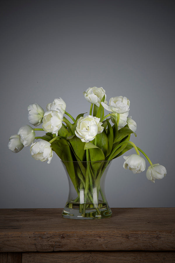 Tulip - White - 35cm Tall Artificial Flowers in Water in Glass Vase