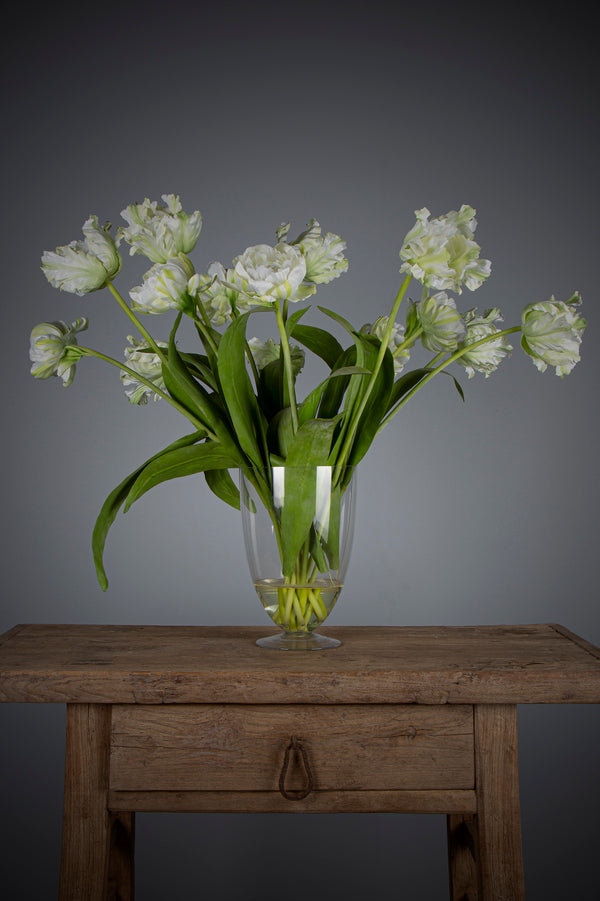 Parrot Tulip - White - 75cm Tall Artificial Flowers in Water in Glass Vase
