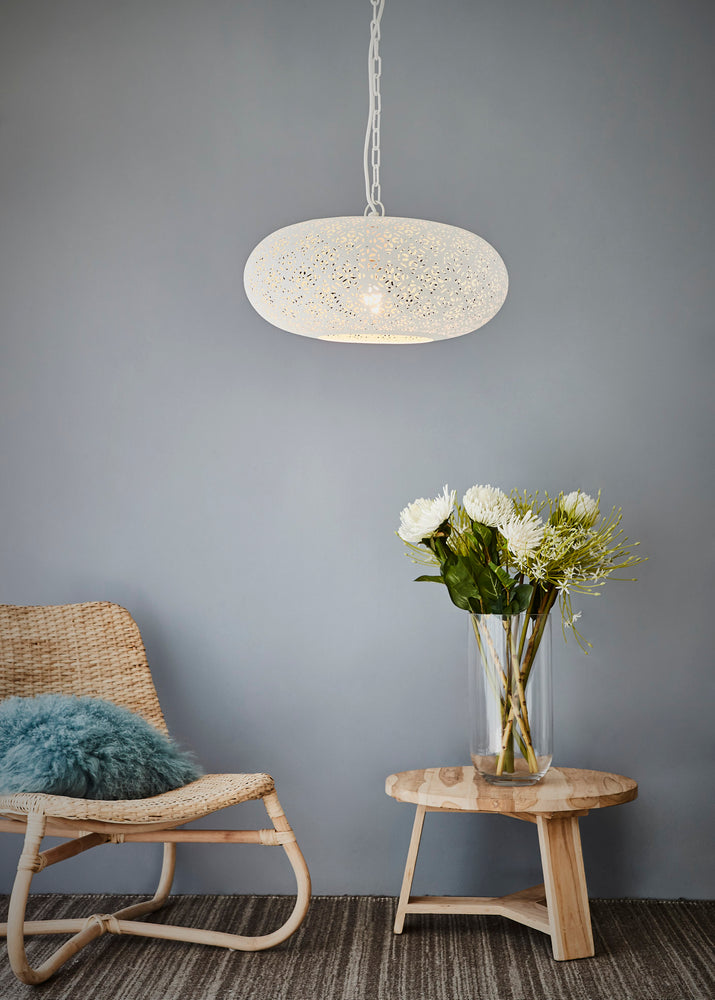 Titan - White - Perforated Ellipse Pendant Light