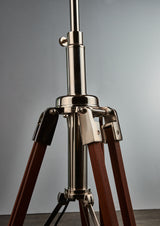 Wright - Nickel and Natural - Wood and Nickel Tripod Base with Shade