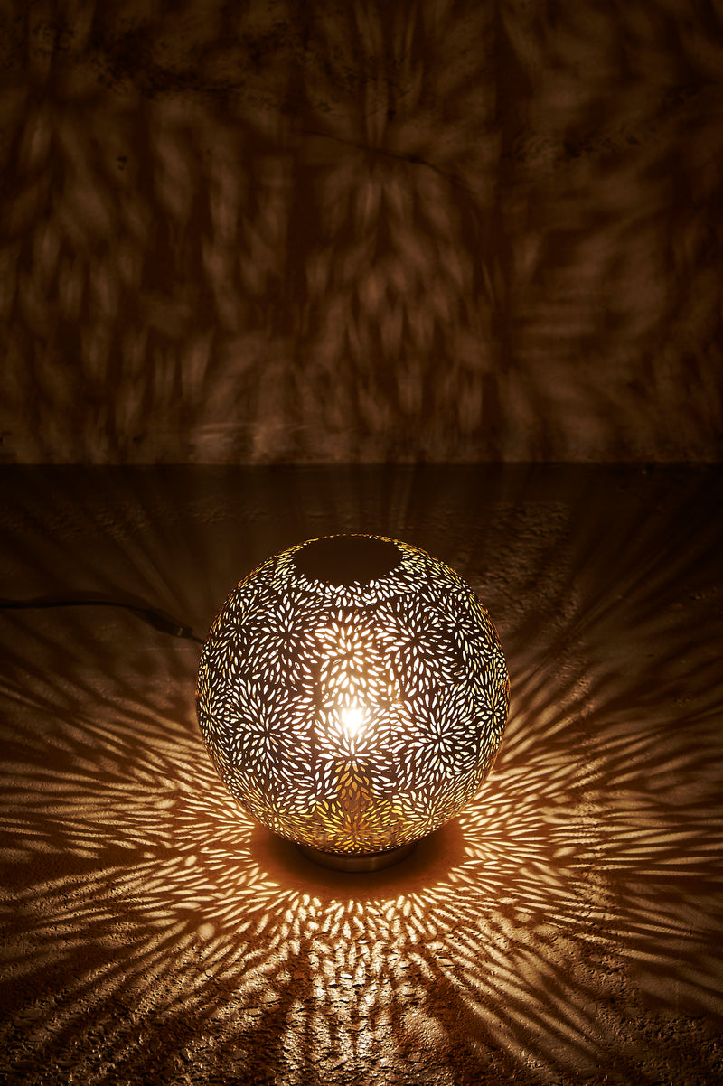 Taurus - Nickel - Perforated Round Table Lamp