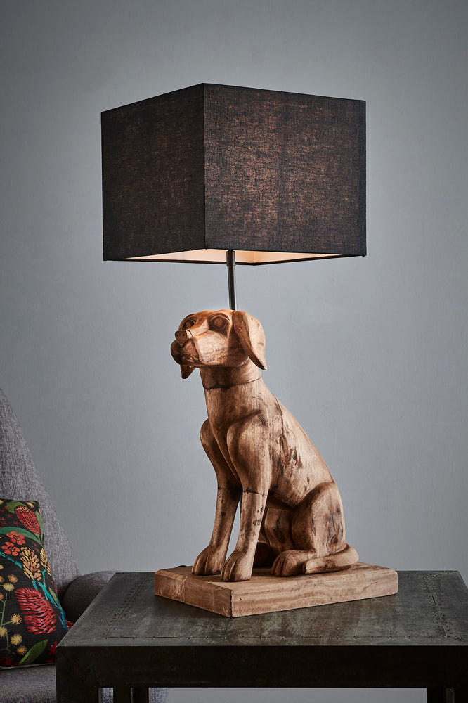 Thelma - Weather Barn - Large Wooden Dog Table Lamp
