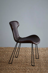 Yonkers Chair - Tan/Black - Waxed Leather Upholstered Chair