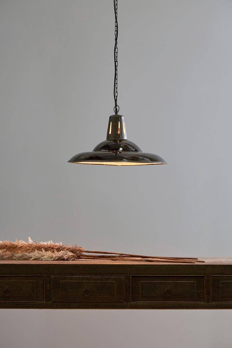 Zetland - Old Black - Enamelled Iron Dish Pendant Light