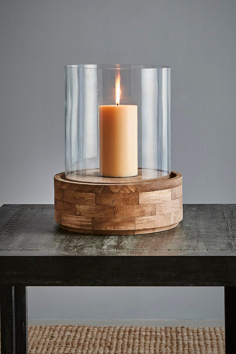 Amalfi Large - Dark Natural/Clear Glass - Glass and Wood Hurricane Lamp