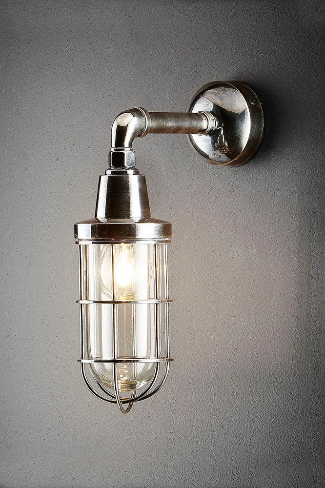 Alfreda Wall - Antique Silver and Clear Glass - Solid Metal Caged Wall Light with Clear Glass Bulb Cover