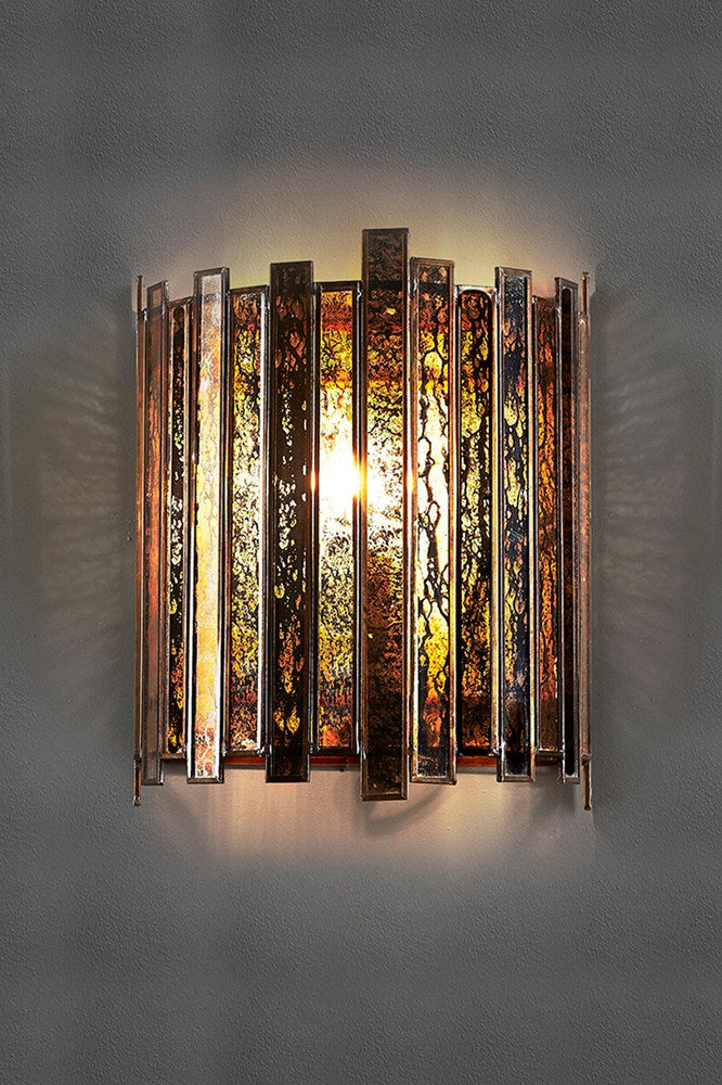 Monroe Wall - Silver and Glass - Half-Round Shaped Mecury Glass and Iron Wall Sconce