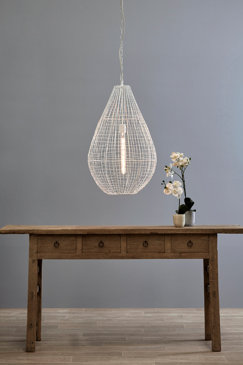 Cray Pot Large - White - Wire Weave Teardrop Pendant Light