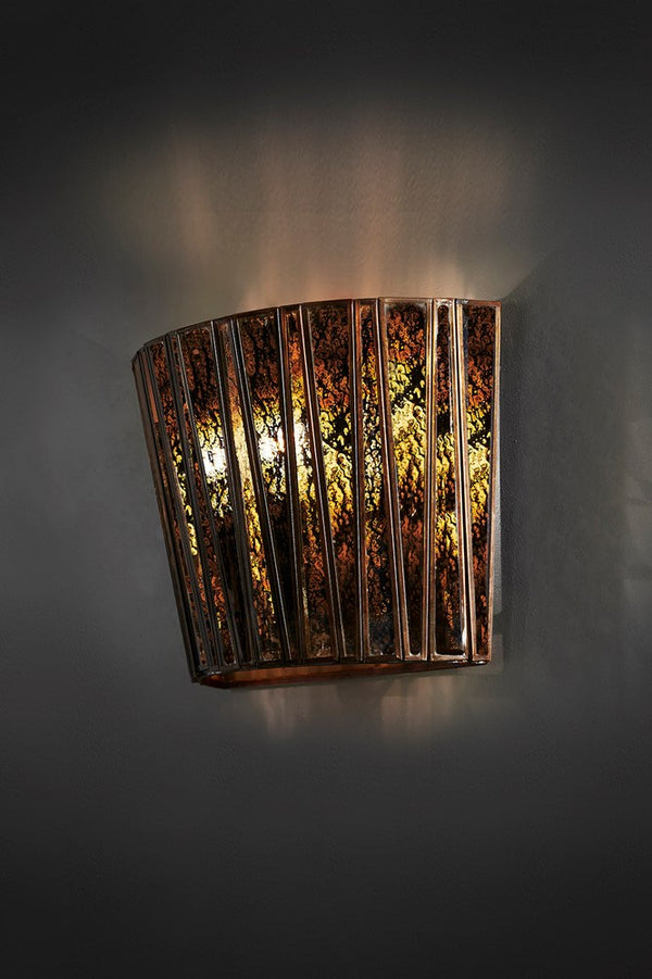 Roosevelt Wall - Antique Brass and Mecury Glass - Tapered Half-Round Shaped Iron And Mercury Glass Wall Sconce