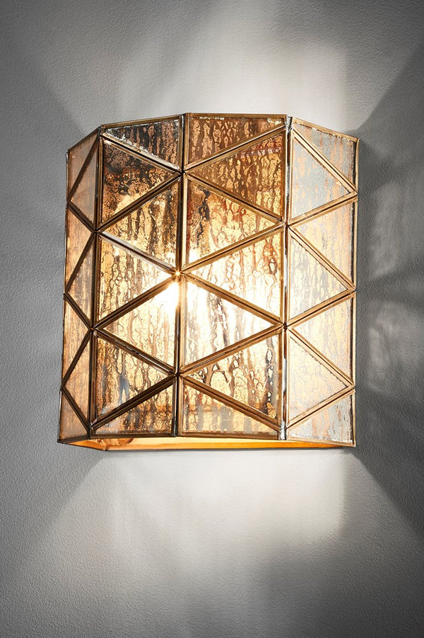 Butterworth Wall - Antique Brass and Mercury Glass - Angular Half-Round Shaped Iron and  Mercury Glass Wall Sconce