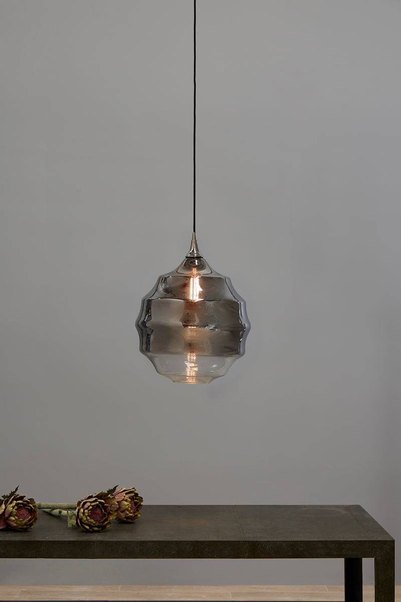 Onda - Smoke Grey/Clear Two-tone Gradient - Medium Rippled Glass Ball Pendant Light