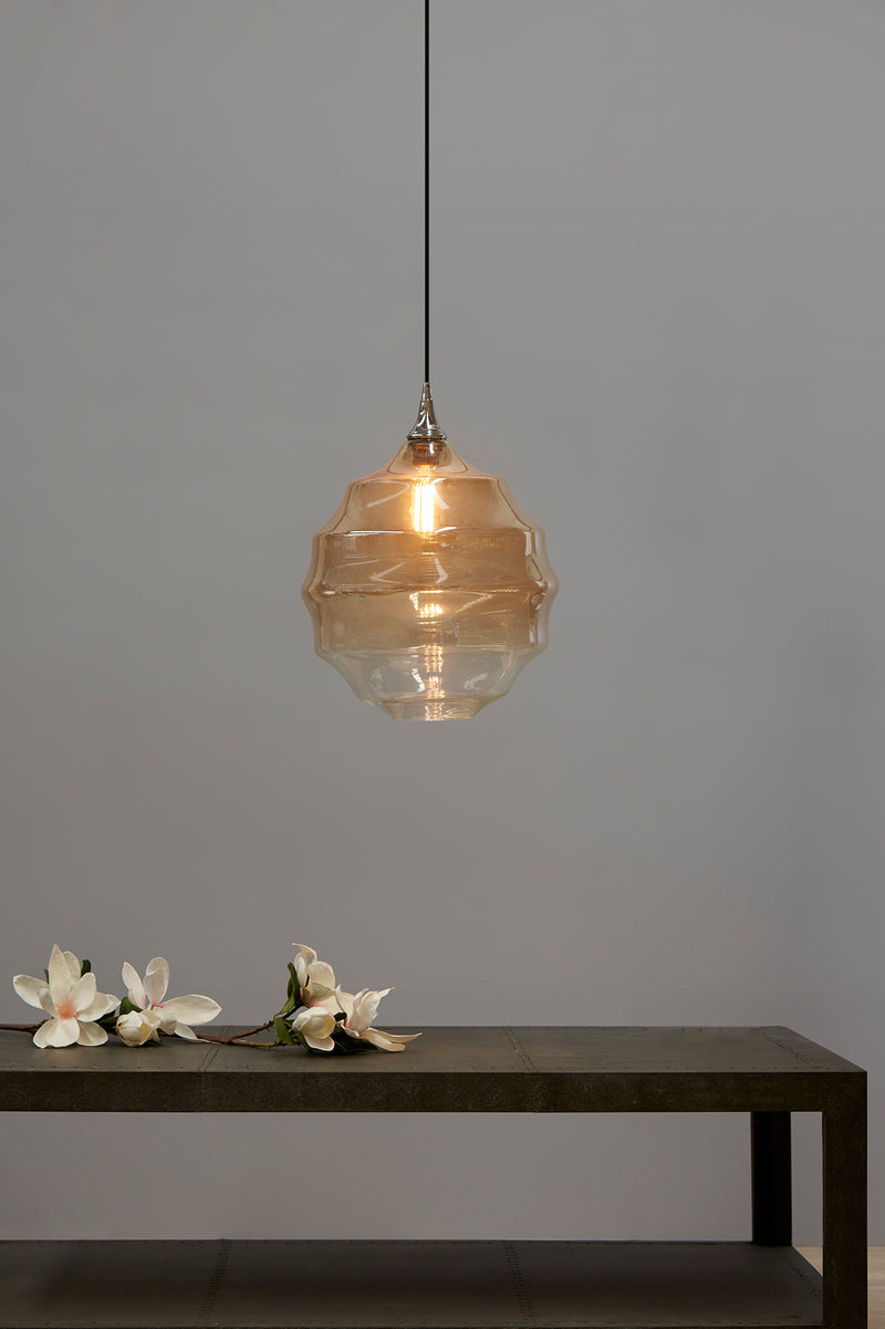 Onda - Champagne/Clear Two-tone Gradient - Medium Rippled Glass Ball Pendant Light