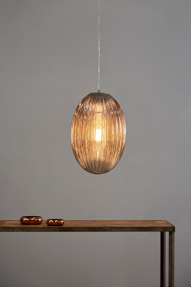 Costolette Medium - Smoke Grey - Medium Ribbed Glass Pod Pendant Light
