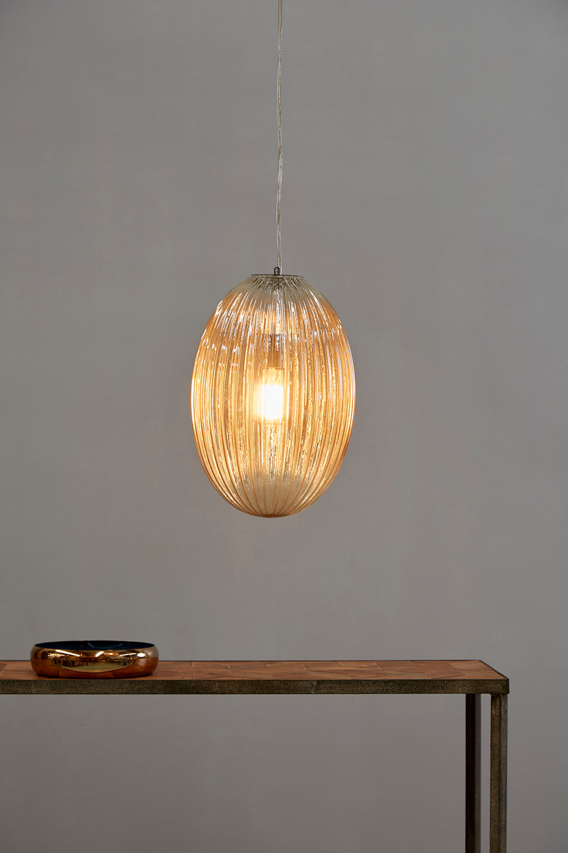 Costolette Medium - Champagne - Medium Ribbed Glass Pod Pendant Light