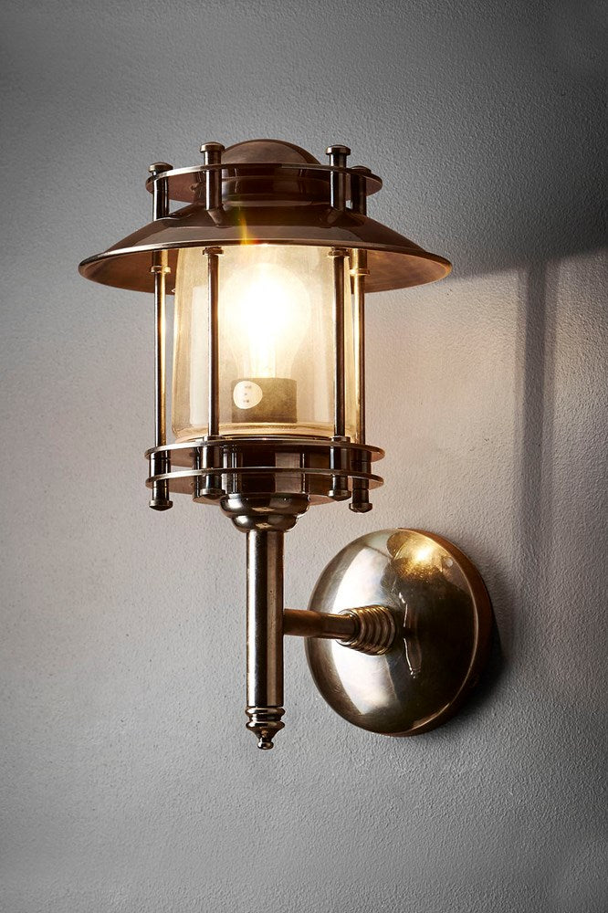 Ainsworth Wall - Antique Silver and Clear Glass -Solid Metal Wall Lantern with Clear Glass Lamp Cover