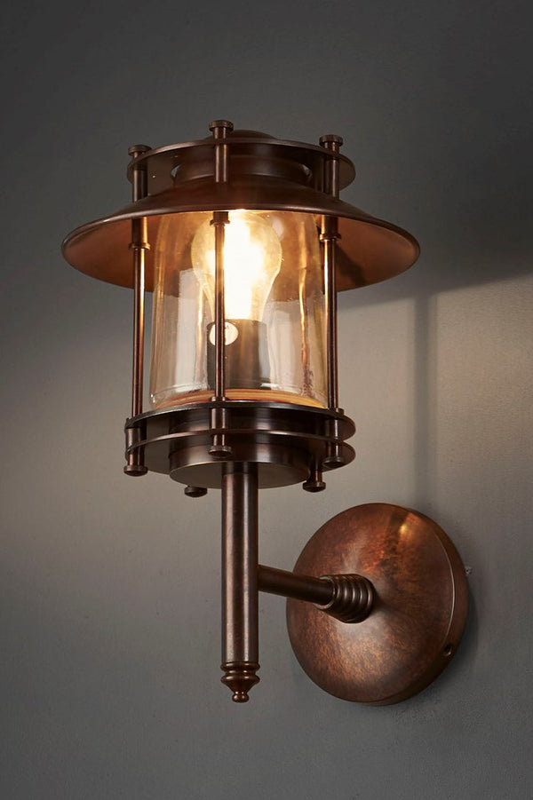 Ainsworth Wall - Dark Brass and Clear Glass - Solid Metal Wall Lantern with Clear Glass Lamp Cover