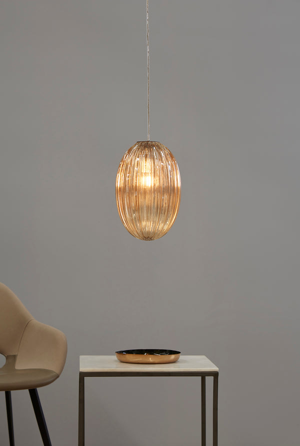 Costolette Small - Champagne - Small Ribbed Glass Pod Pendant Light