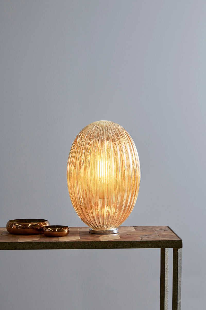 Costolette Medium Table - Champagne - Medium Ribbed Glass Pod Table Lamp