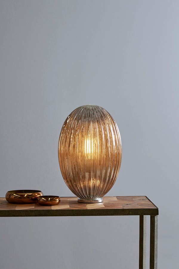 Costolette Medium Table - Smoke Grey - Medium Ribbed Glass Pod Table Lamp