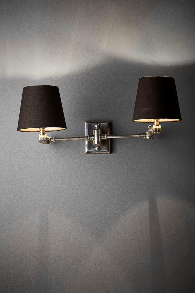 Worcester Wall - Antique Silver and Black - Solid Brass Antique Silver Swing Arm Dual Wall Light with Black Textile Shades