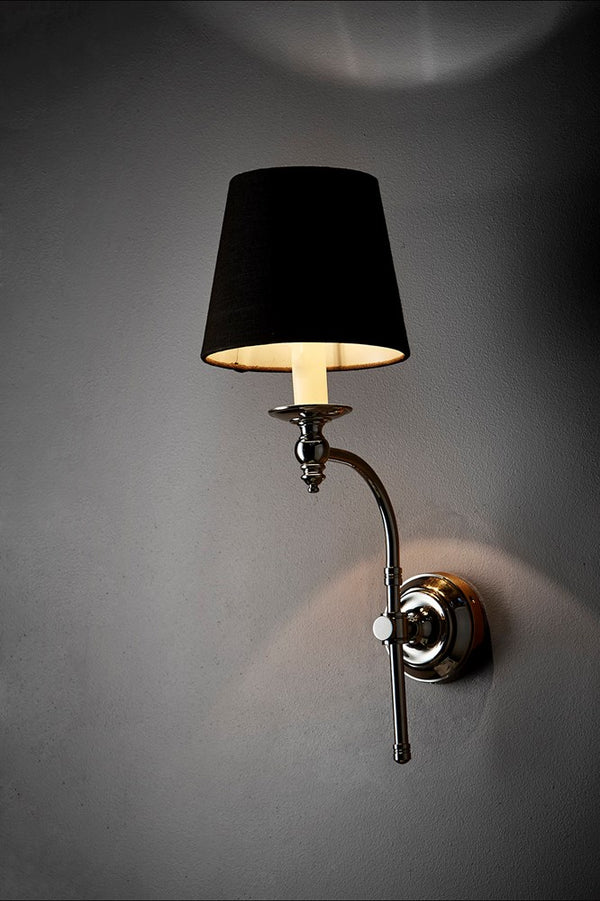 Soho Curved Sconce Wall - Shiny Nickel and Black - Metal Arm Wall Light with Black Linen Shade