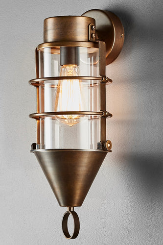 London Wall - Brass and Clear Glass - Solid Brass and Clear Glass - Contemporary Brass Cage Wall Light with Clear Glass Lamp Cover