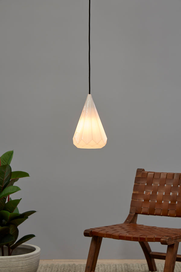 Kimberly Small - Opal White - Small Faceted Glass Teardrop Pendant Light