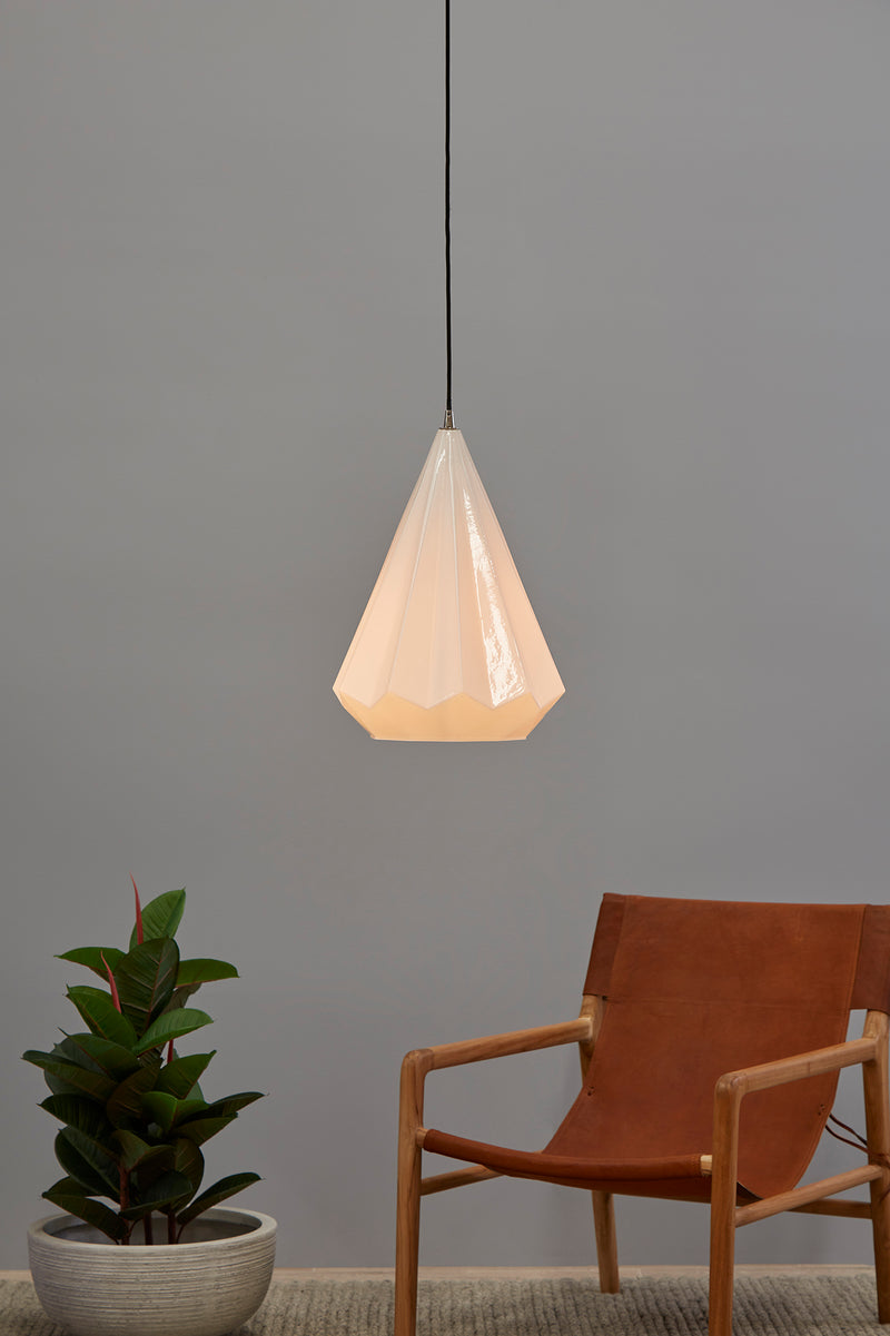 Kimberly Large - Opal White - Large Faceted Glass Teardrop Pendant Light
