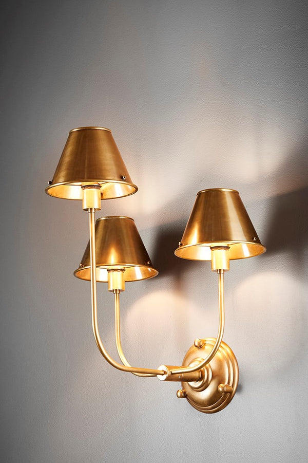 Trilogy 3 Arms Wall - Antique Brass- Metal 3 Arm Wall Light with Antique Brass Metal Shades