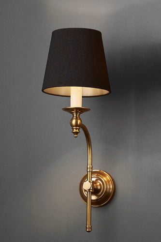 Soho Curved Sconce Wall - Brass and Black - Metal Arm Wall Light with Black Linen Shade