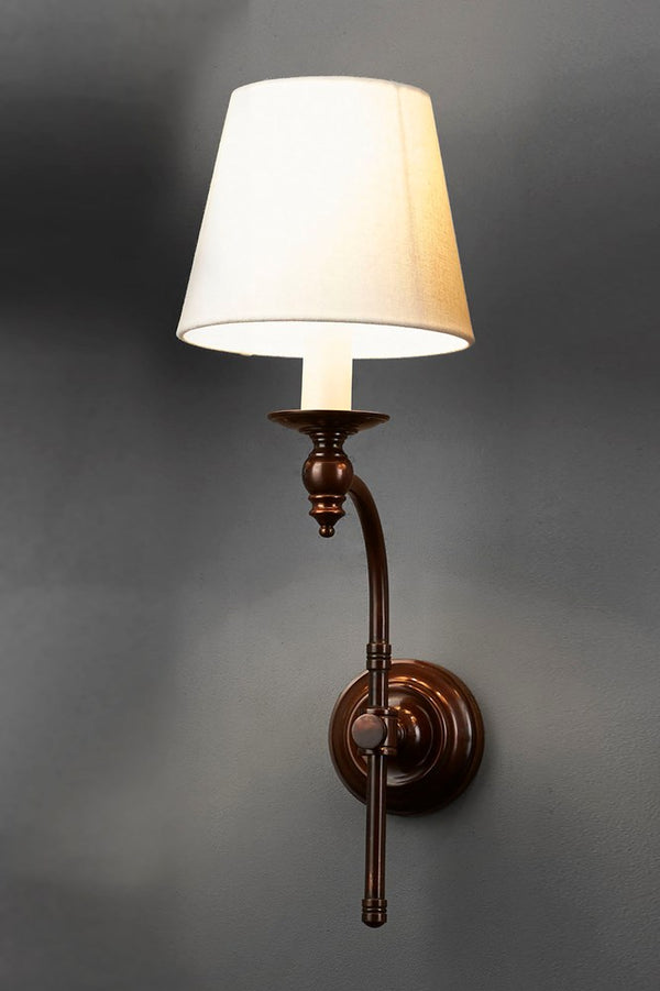 Soho Curved Sconce Wall - Bronze and Ivory - Metal Arm Wall Light with Ivory Linen Shade