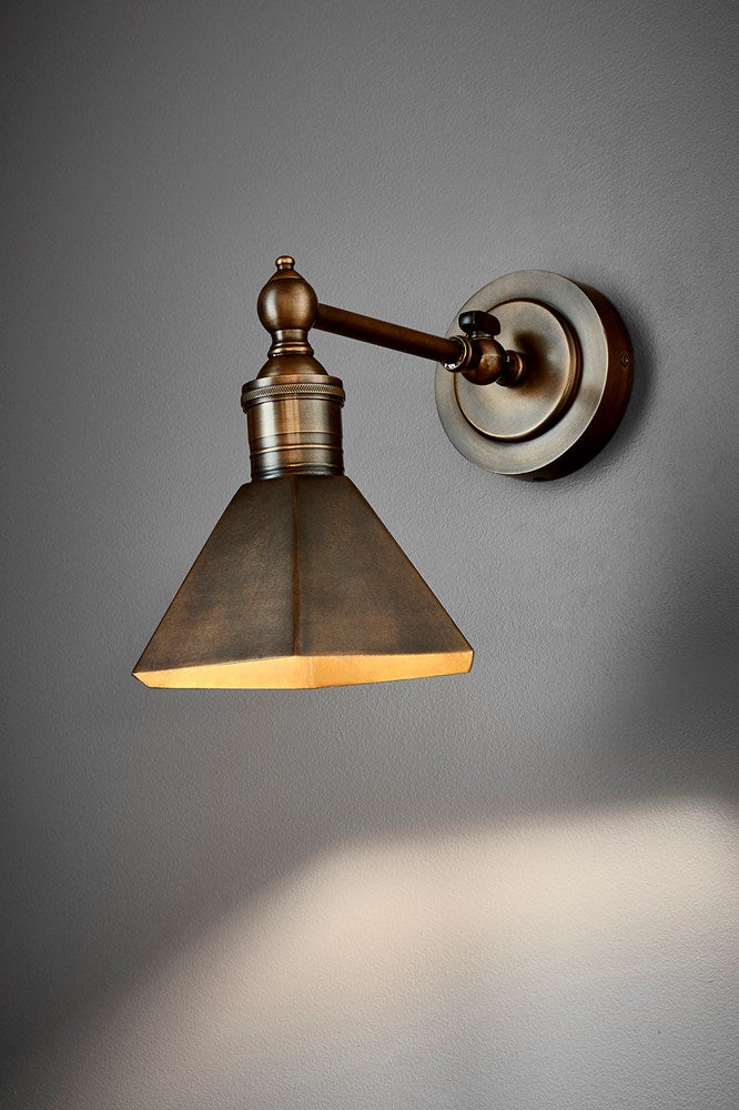 Mayfair Wall - Antique Brass - Metal Adjustable Wall Light with Angular Metal Shade