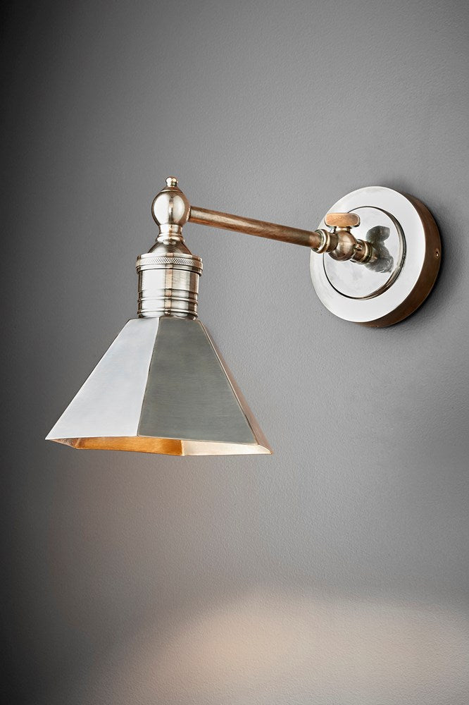 Mayfair Wall - Antique Silver - Metal Adjustable Wall Light with Angular Metal Shade