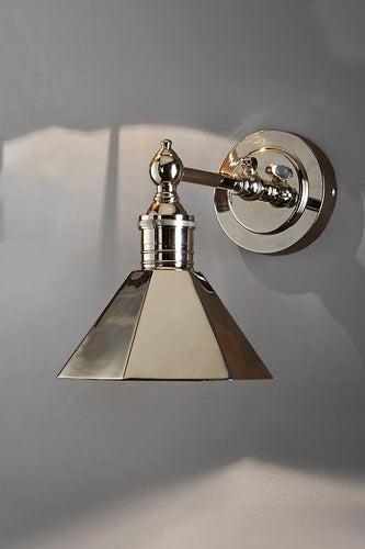 Mayfair Wall - Shiny Nickel - Metal Adjustable Wall Light with Angular Metal Shade