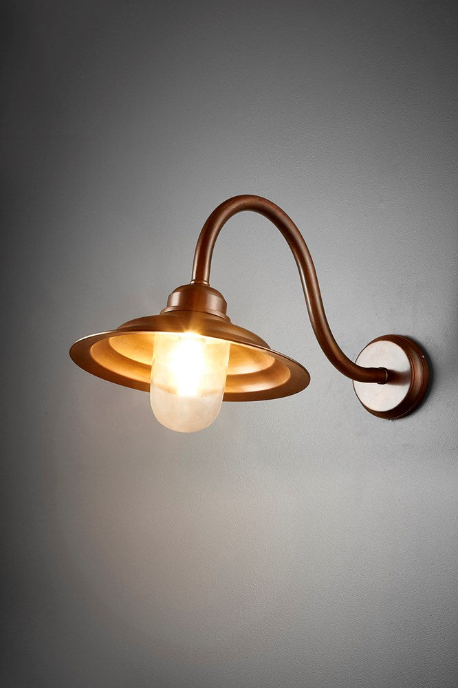 Grove Wall - Dark Brass and Clear Glass - Metal Arm Wall Light with Clear Glass Lamp Cover