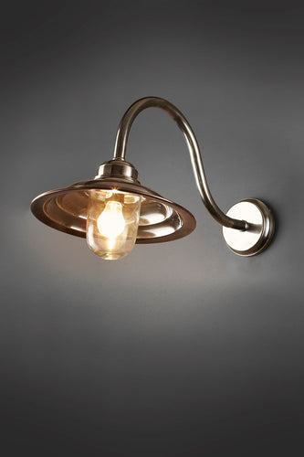 Grove Wall - Antique Silver and Clear Glass - Metal Arm Wall Light with Clear Glass Lamp Cover
