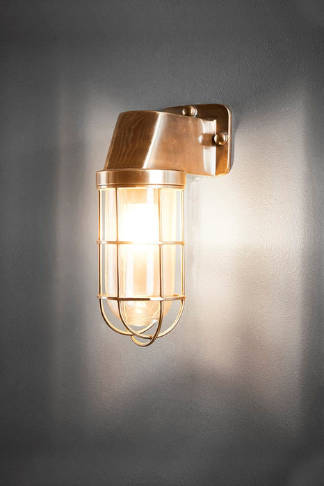 Royal London Wall - Antique Brass and Clear Glass - Aluminium and Metal Cage Wall Light with Clear Glass Lamp Cover