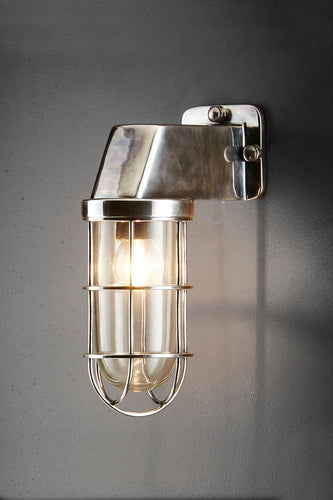 Royal London Wall - Antique Silver and Clear Glass - Aluminium and Metal Cage Wall Light with Clear Glass Lamp Cover