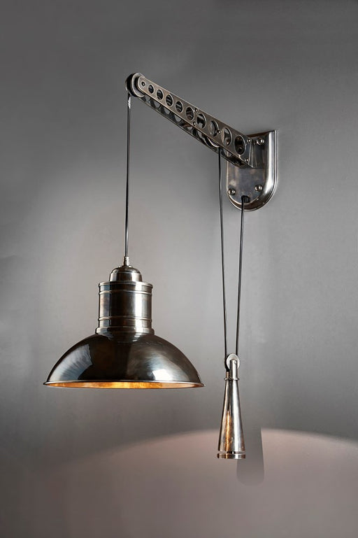 Bolton Wall - Antique Silver - Metal Height Adjustable Pulley Controled Wall Light